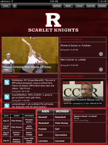 Rutgers iPad app magazine-style page