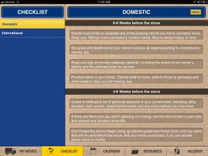 Checklist from Hilldrup's Move Pro app